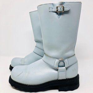 John Fluevog Light Blue Carrie Leather Boots